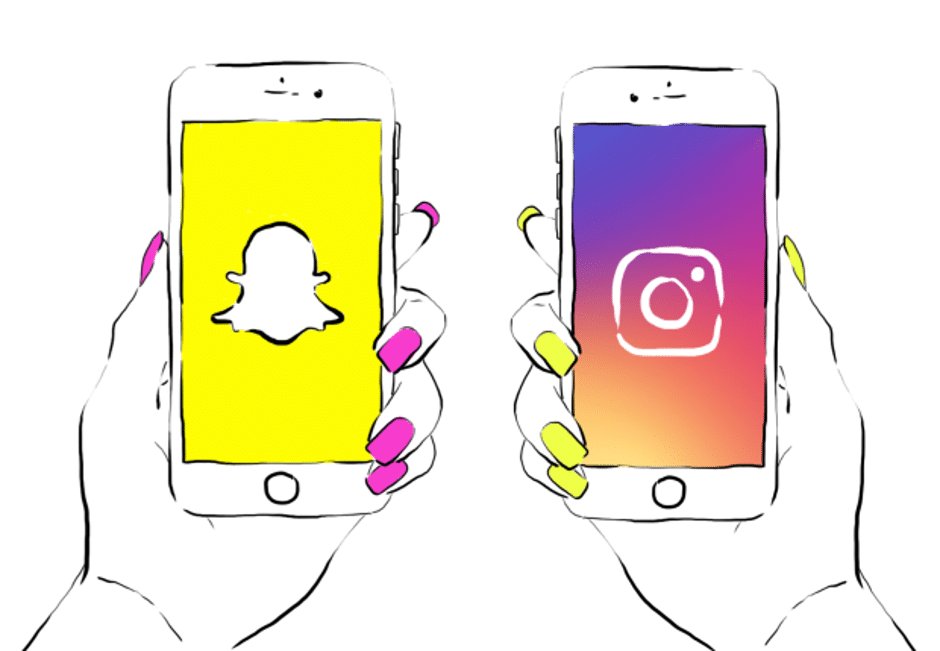 mobile phone sketches of snapchat and instagram logos